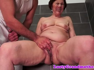 Chubby grandma bitchy after showering