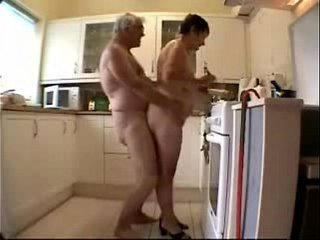 Old duo having fun. Amateur older