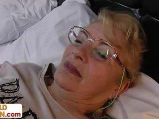 Old grandmother blonde vagina hair