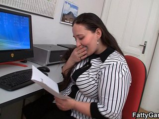 Fucking fat stomach office girl on the floor