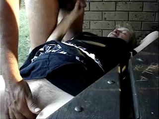 Having joy outdoor with pervert granny. Amateur Older