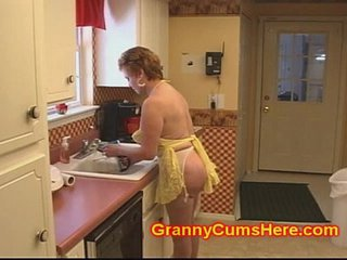 Granny Whore FUCKED in her KITCHEN by BBC