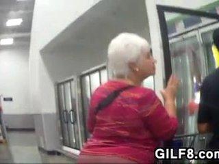 Grandmas Fat Arse Walking Around At A Store