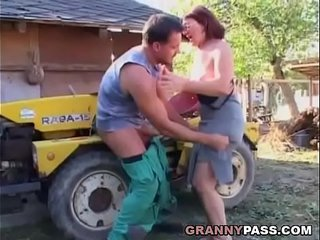 German Granny Rides Youthful Dick Outdoor