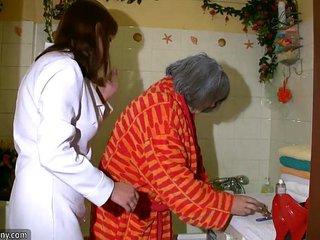 OldNanny Sumptuous nurse shower granny, Granny with grandpa have sex