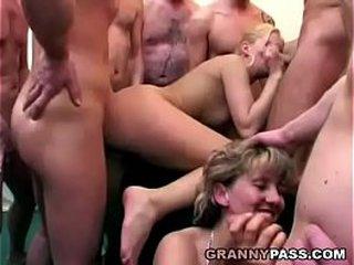 Granny Eats Spunk After Gangbang