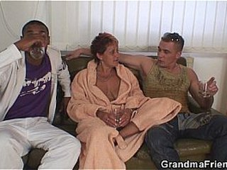 Interracial granny dual penetration