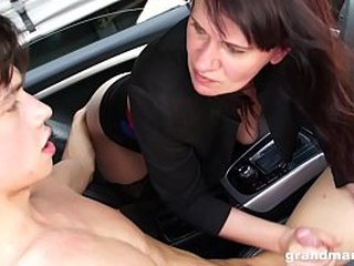 Granny Vicky lewd to suck cock in parking lot GrandMams.com