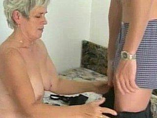 Hairy granny tastes youthfull dick