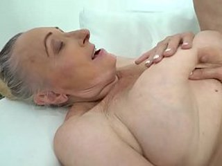 Chesty granny loves hard-on