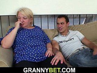 He pick ups old ash-blonde granny