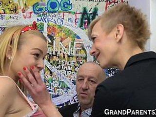 Granny helps grandad plumb tongues teenie