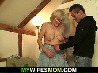 Stud fucks old blonde granny