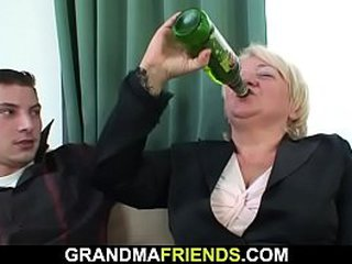 Threesome sex with drunk old granny