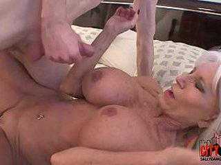 Horny grandma showcases grandson how to fuck.