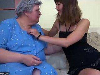 Youthful Lady and old round Granny mastubate