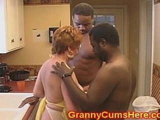 Granny D/s FUCKED in her KITCHEN by Big black cock
