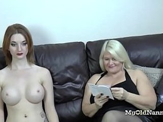 horny granny received a busty sex doll