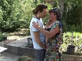 Young guy screws hairy granny pussy