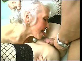 Redhead and ash-blonde granny BBW fucksluts share big dick