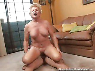 Plumper Granny Champagne Big Dicked In Her Sleekly Shaved Beaver