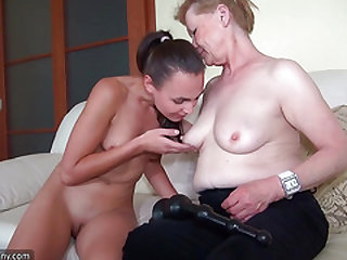 OldNanny Plumper senior nailing with mind-blowing lezzie chick