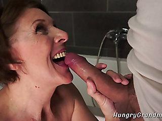 Grandma Deep throats Huge Dick and Gets Banged