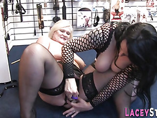 Lesbo grandma in sex store gobbles out