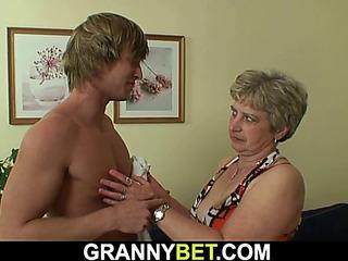 Hotlooking twink bangs old grandma