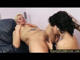 Blonde granny slut going lezzie