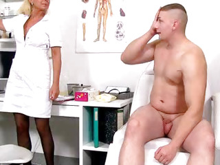 Old with young handjob by chick doctor Koko